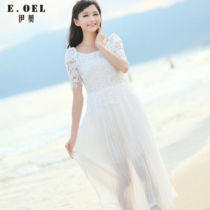 2014 chiffon full dress lace short-sleeve dress full dress $70.35