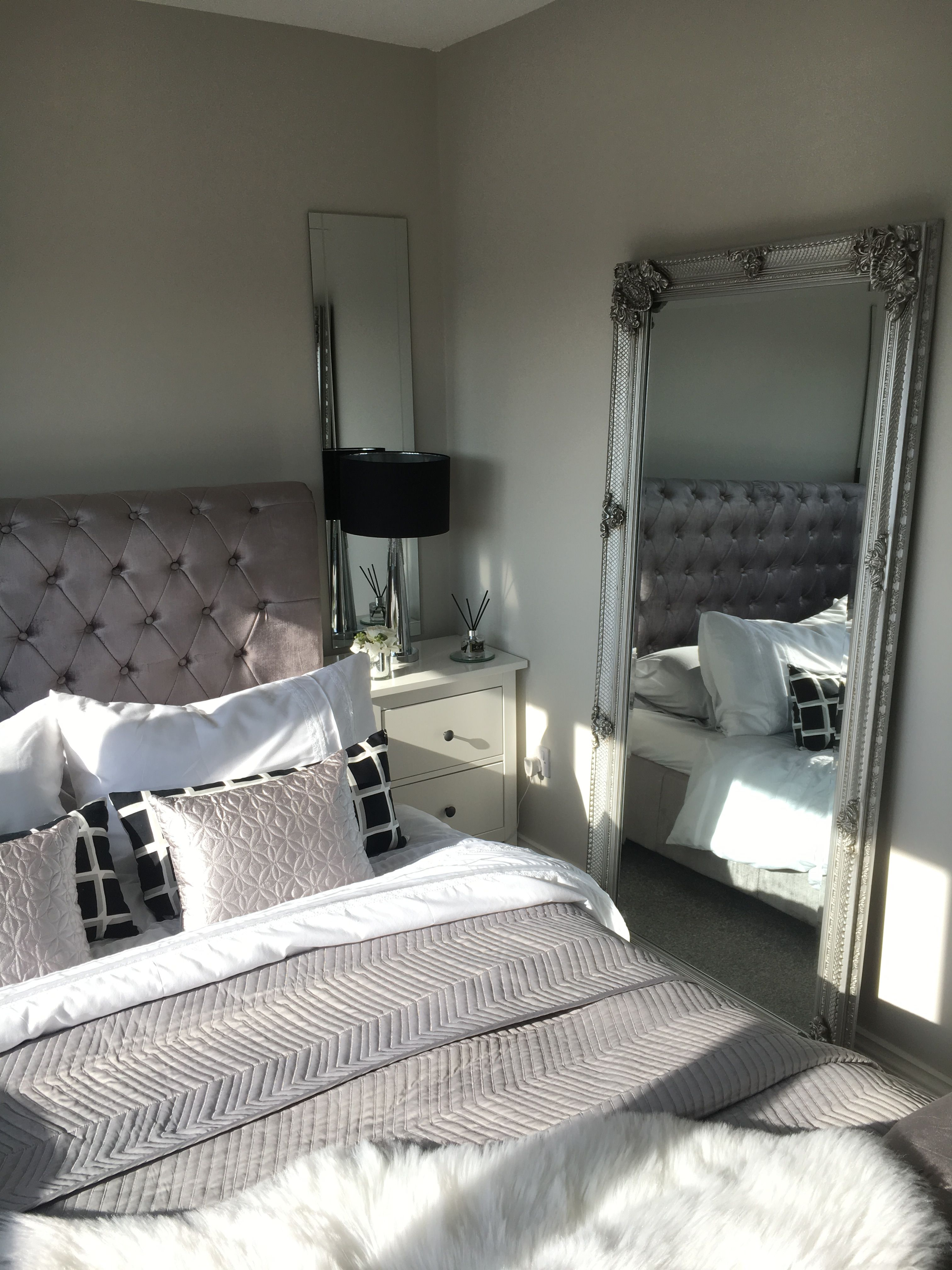 Mirrors Behind Bedside Tables: Leaning Mirror French Mirror Silver Bedroom Goals Bedside