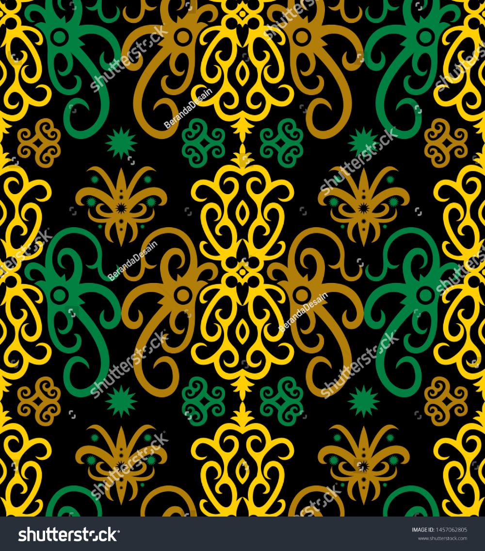 Seamless Pattern Of Dayak Batik. Borneo Motif Style