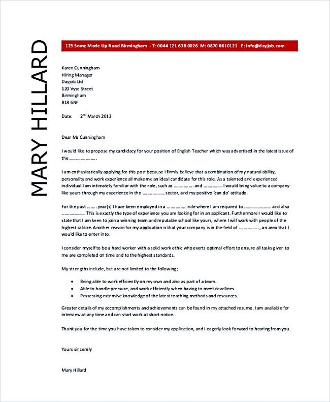English Teacher Cover Letter Example , Teaching Cover Letter - teaching cover letter examples