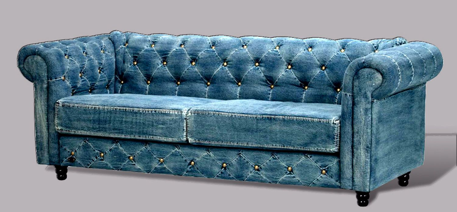 Tufted denim chesterfield sofa transitional living room furniture couch settee ebay great Denim couch and loveseat