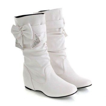 Casual PU Leather Bow and Sequins Design Women's Boots, WHITE, 39 in Boots   DressLily.com