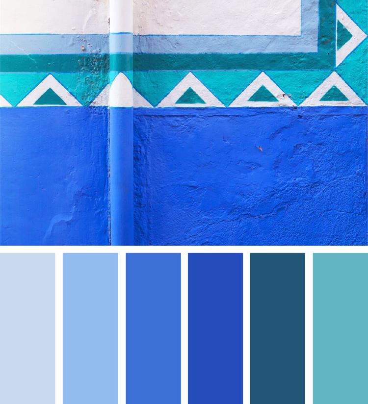 Verschiedene Blautone Miteinander Kombinieren Farbpalette Blau Alpina Wandfarbe Konigsblau Farbe