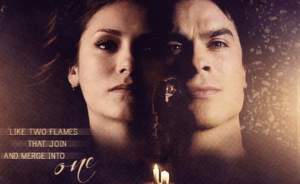 Two flames that merge into one. Delena. The Vampire Diaries <3