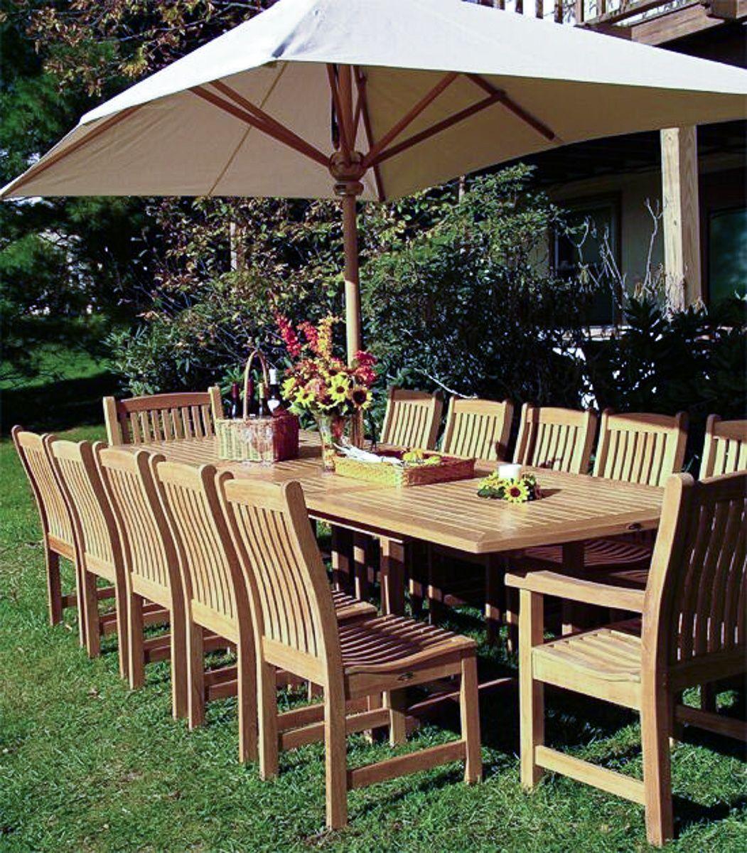 13 Pc Grand Veranda Teak Dining Set Westminster Teak Teak Outdoor Furniture Teak Outdoor Teak Furniture Set