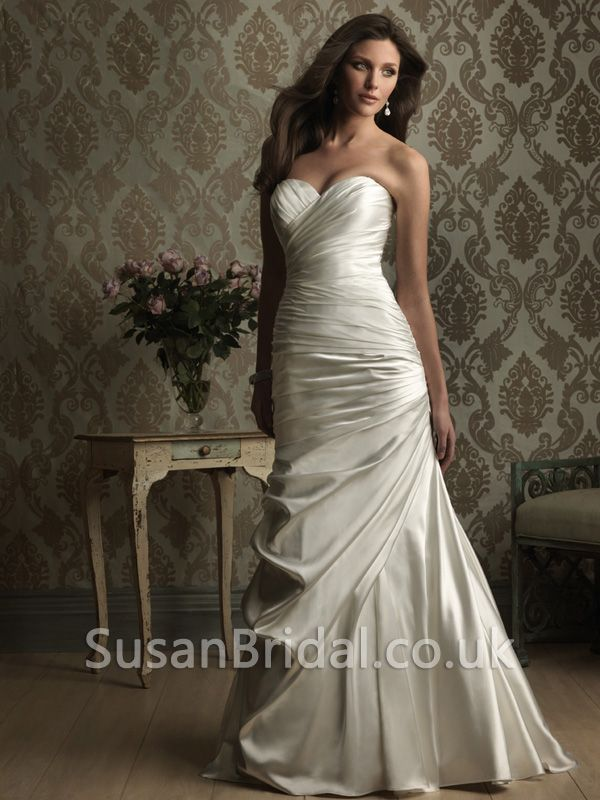 Ruched Bodice Wedding Dress | Plain Sweetheart Ruched Bodice Sweep ...