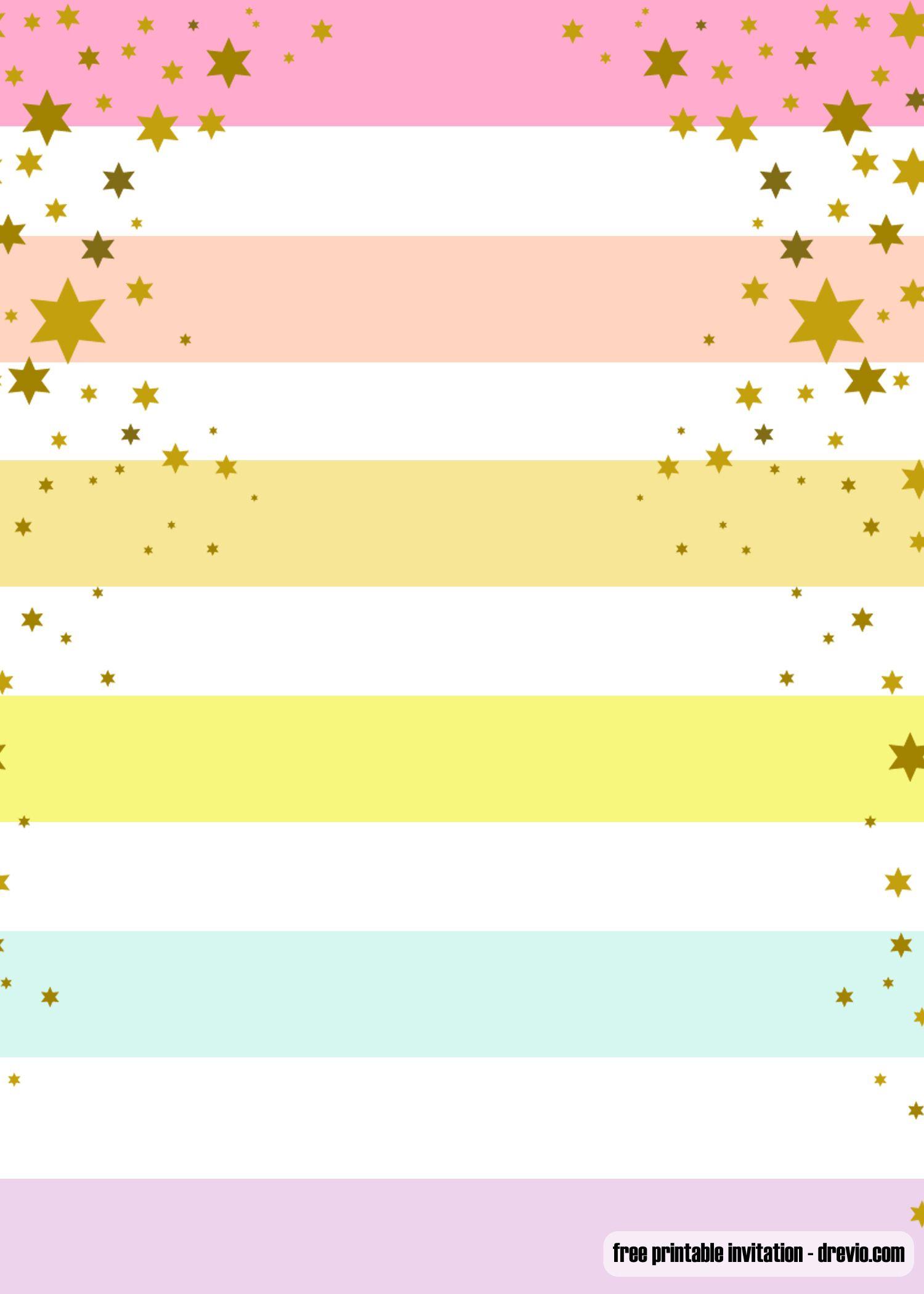 Free Printable Rainbow Party Invitation Templates Rainbow