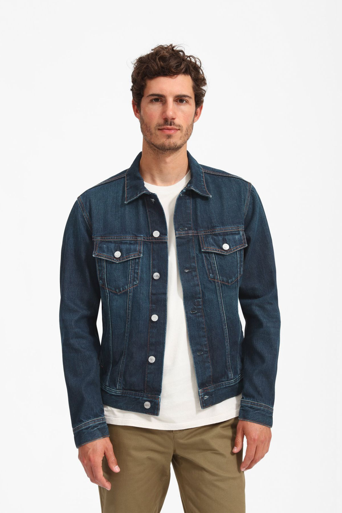 The Denim Jacket By Everlane In Vintage Dark Blue Wash An Iconic Layer To Live In Yea Dark Blue Denim Jacket Blue Denim Jacket Outfit Denim Jacket Men Outfit [ 1800 x 1200 Pixel ]