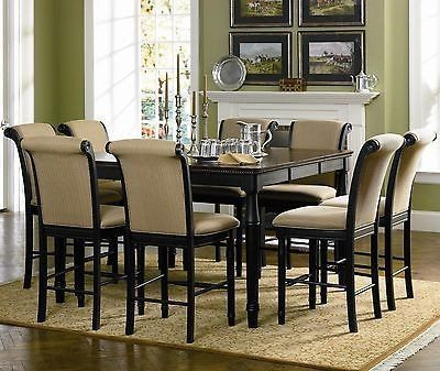 cabrillo counter height 7 piece black dining room table set