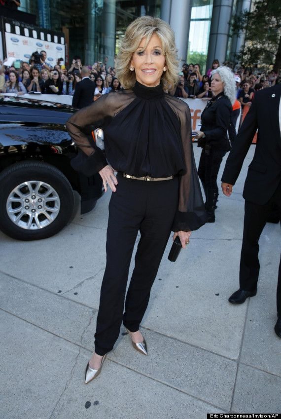 Jane Fonda At 76 Looking Stunning In A Black Pant Suit