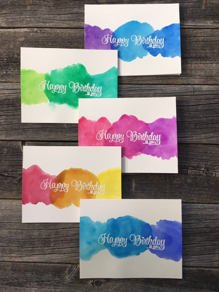 Set Hand Painted Watercolor Birthday Cards Set Assorted Etsy In 2021 Watercolor Birthday Cards Handmade Birthday Cards Simple Birthday Cards