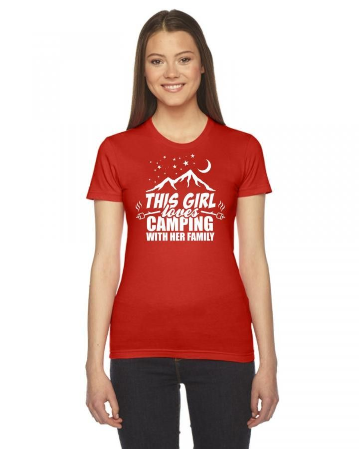 this girl loves camping with her family 1 Ladies Fitted T-Shirt