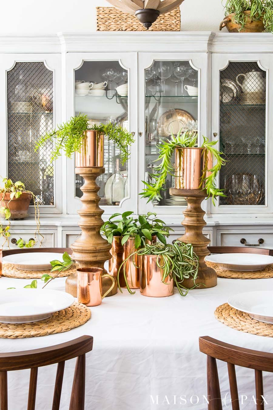 spring table with copper succulents and hanging plants home rh pinterest es