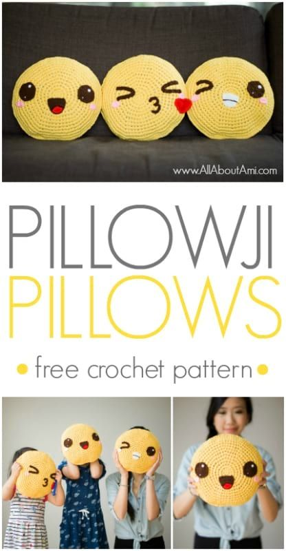 Cute pillows full of personality! Mix and match all the different facial features to make them your own! FREE pattern available!