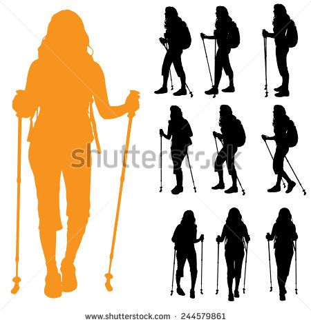 Vector Silhouette Of Woman With Nordic Walking Stock Vector