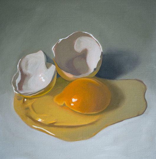 Cracked Egg - Oil painting by Lauren Pretorius http://cgi.ebay.com/ws/eBayISAPI.dll?ViewItem&item=161306815849