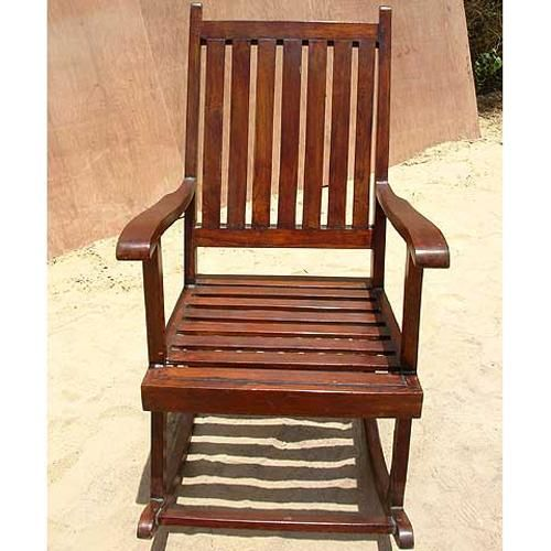 Old Fashioned Classic Shaker Style Rocking Chair With High Back And Wide  Headrest.
