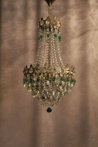 Vintage-Antique-Crystal-1930-s-Old-Basket-Chandelier-French-Luster-Kronleuchter