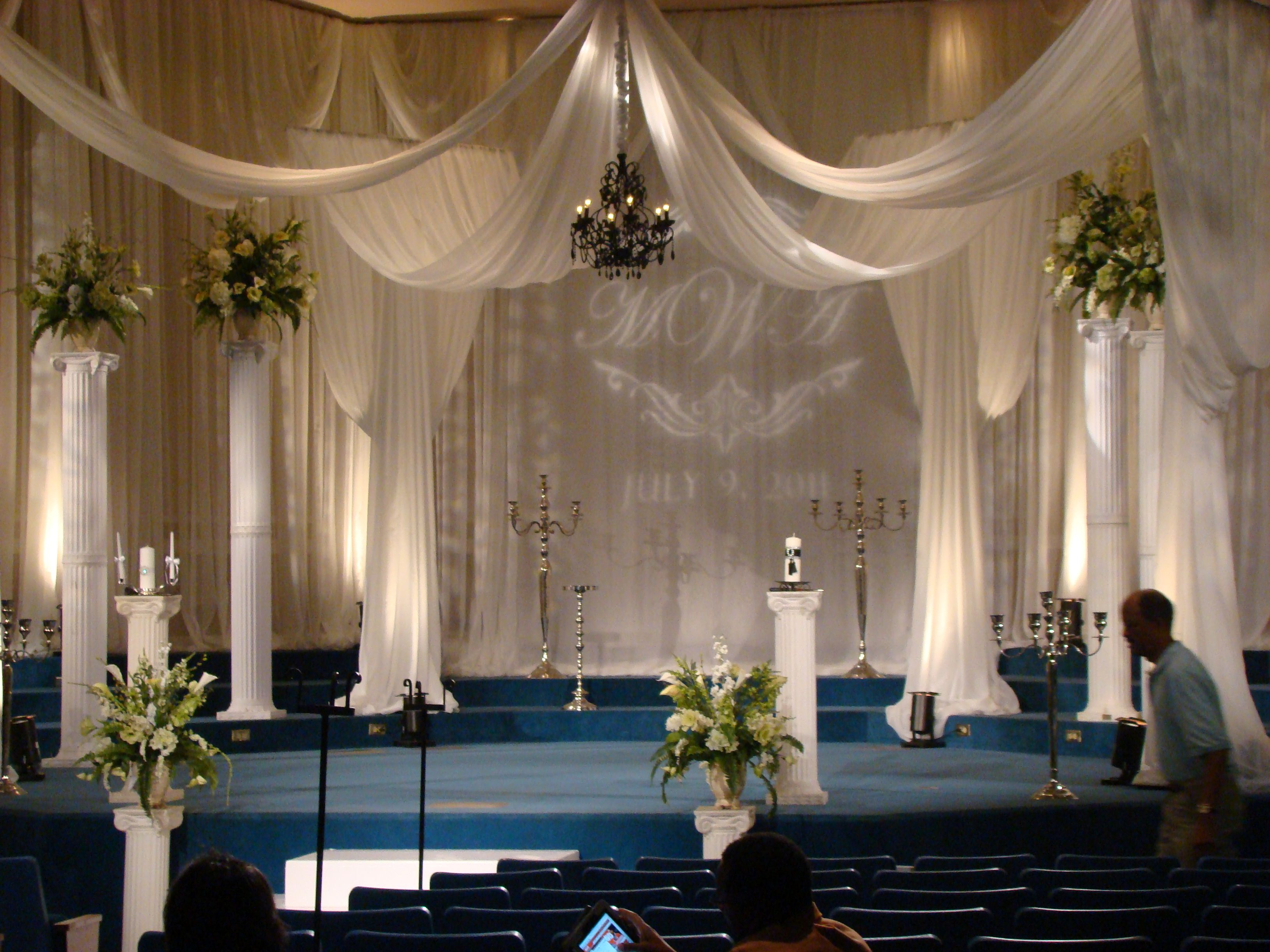 Elegant Drapery At Indoor Ceremony: Draped Stage Setup By EventsPlusNashville.com #Stage