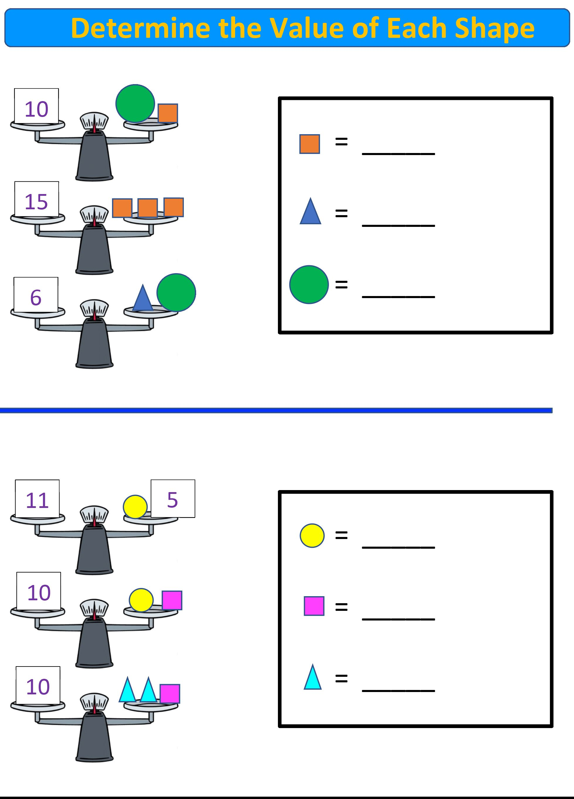 Free Math Worksheets K-2nd Grade. Balance Scale Math!   Balanced math [ 2726 x 1958 Pixel ]
