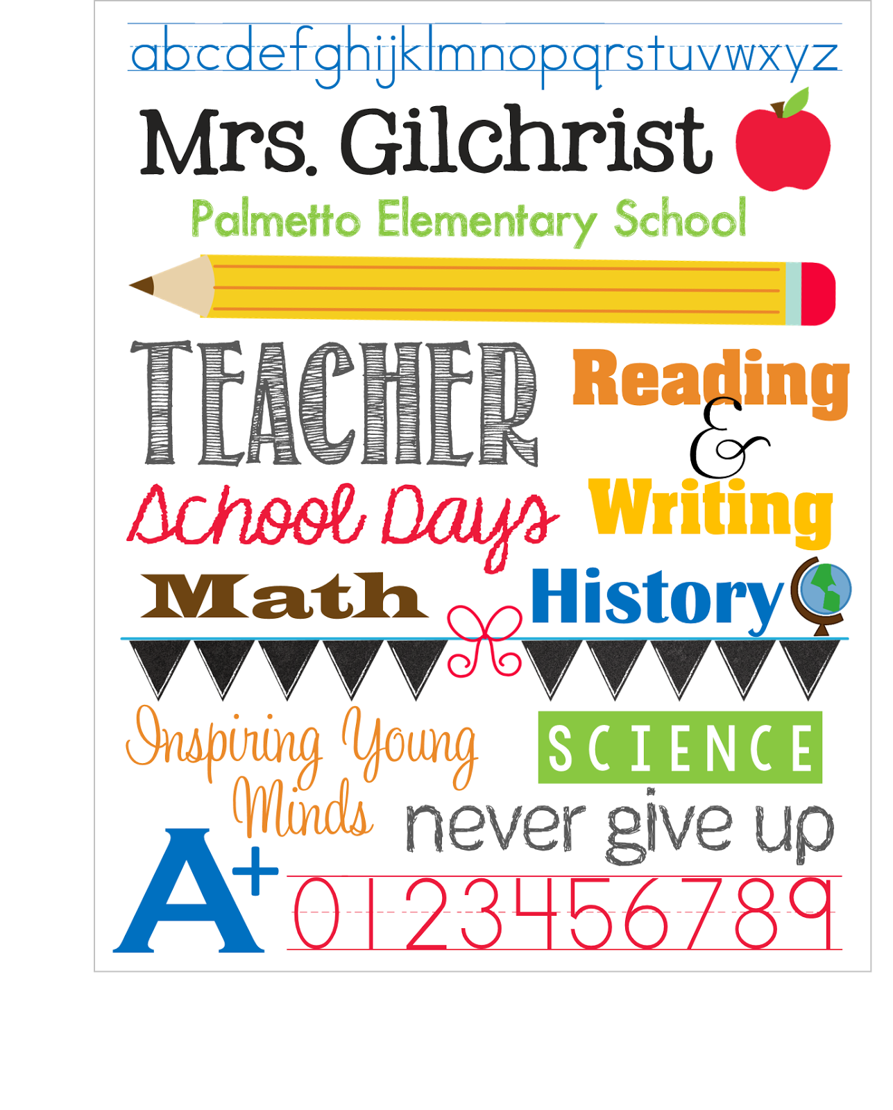 Elementary School Font : elementary, school, Teacher, Subway, Print!, Download,, School, Na…, Teacher,, Volunteer, Appreciation, Gifts