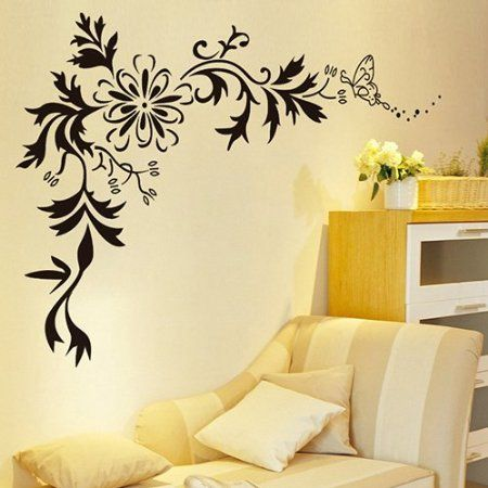 Wall Decals - YYone Contemporary Black Flowers Floral Tribal ...