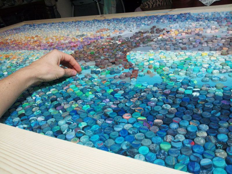 Artistic Mom makes amazing mosaic with 10,000 dots of play-doh