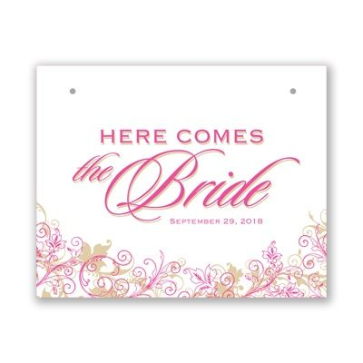 Announce the bride with pink & gold #PinkWeddings #FlowerGirl #DavidsBridal  http://www.invitationsbydavidsbridal.com/Wedding-Day-Essentials/View-All-Wedding-Day-Essentials/2947-DBKXZFS15GFLB-Flourishing-Bride-Sign.pro?&sSource=Pinterest&kw=SoPinkinCute_DBKXZFS15GFLB