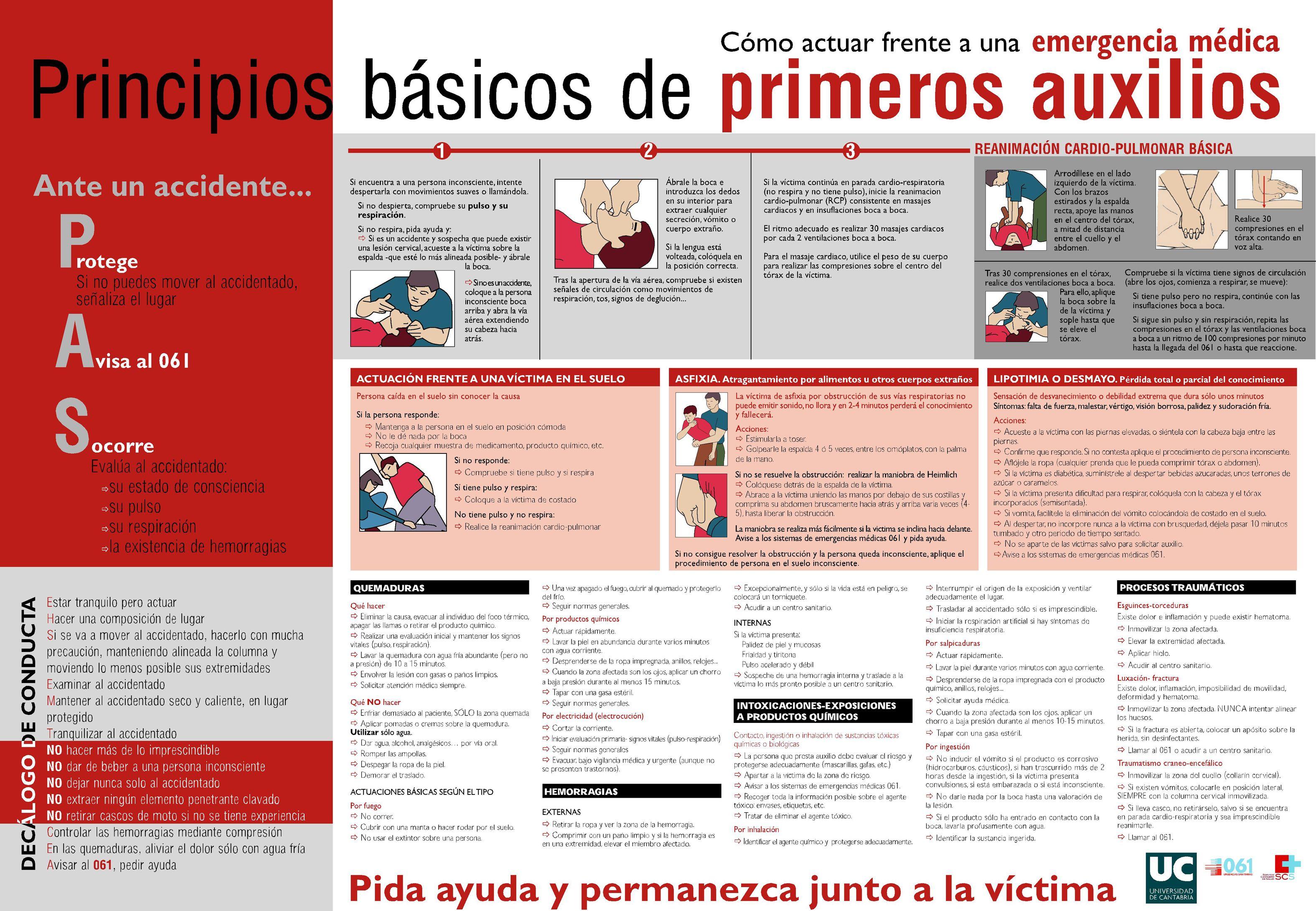 Principios básicos de primeros auxilios Proteger, Avisar y Socorrer
