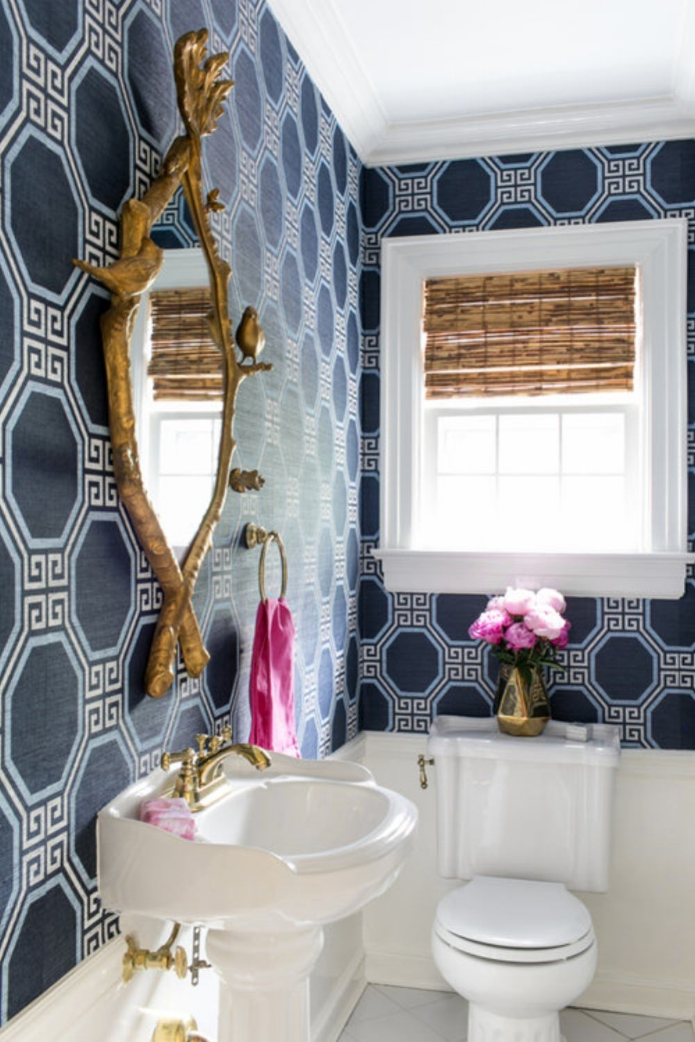 Pattern Play Greek Key Cobalt Gold Powder Room Design Powder Room Wallpaper Amazing Bathrooms