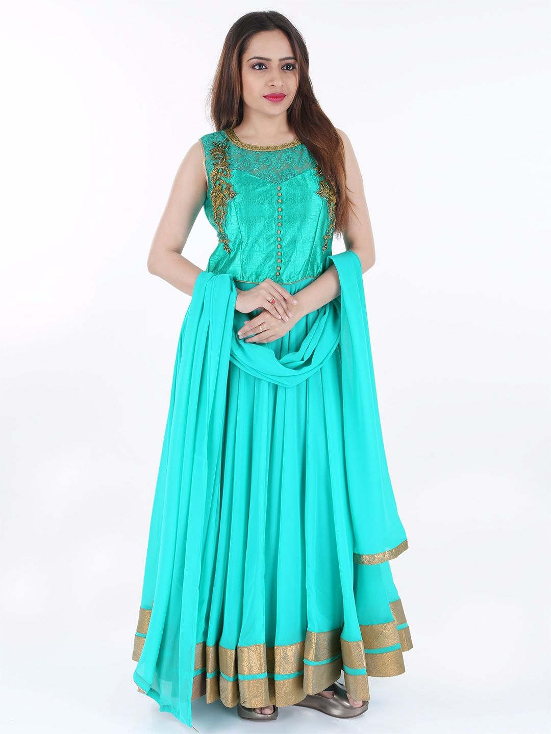 G3 Exclusive Georgette Ready Made Aqua Green Party Anarkali Suit ...