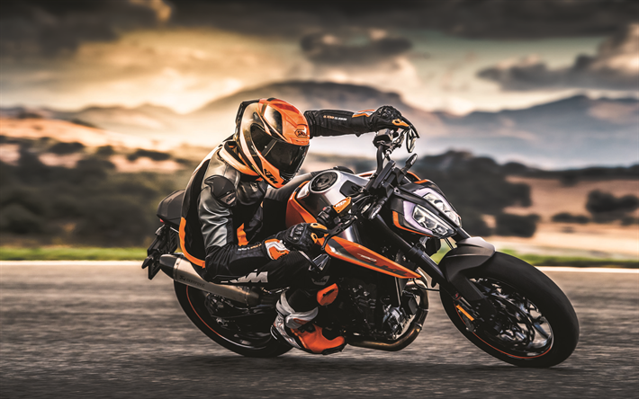 Download wallpapers 4k, KTM 790 Duke, motion blur, 2018 bikes, rider, superbikes, KTM