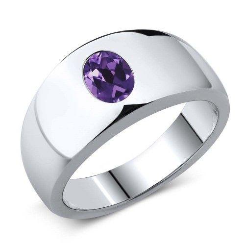 1.10 Ct Oval Purple VS Amethyst 925 Sterling Silver Men/'s Ring