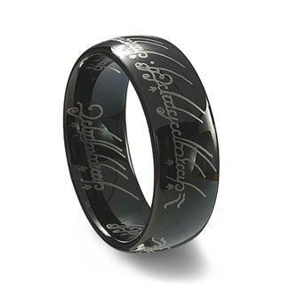 lord of the rings black tungsten carbide one ring - The One Ring Wedding Band