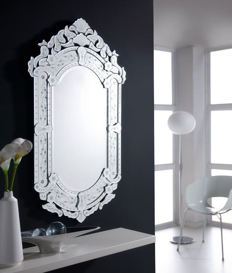 Espejo con marco de lunas plata decoradas soporte en for Espejos con marco color plata