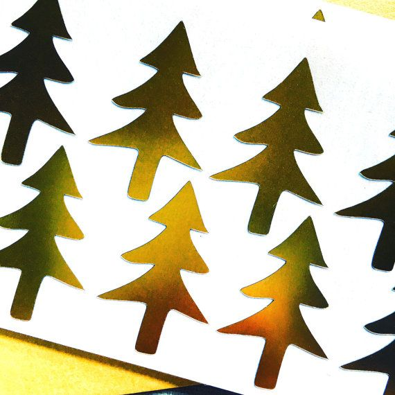 Gold Foil Tree Stickers  Planner Agenda Seals Holiday