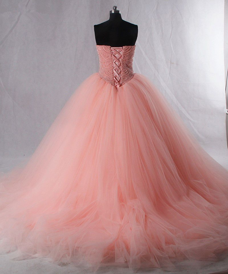 Luxury Pink Quinceanera Dresses Sweetheart Pearls Corset Tulle Puffy ...