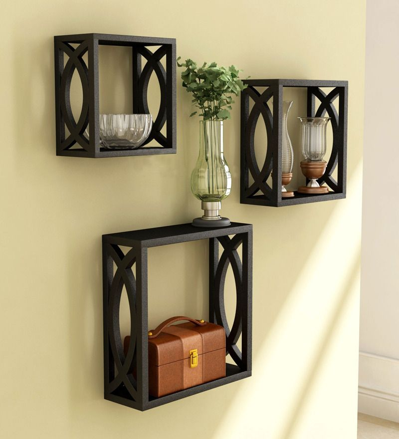 Stylishly Cut Black Wall Shelves   Set Of 3 By Home Sparkle Online   Wall  Shelves
