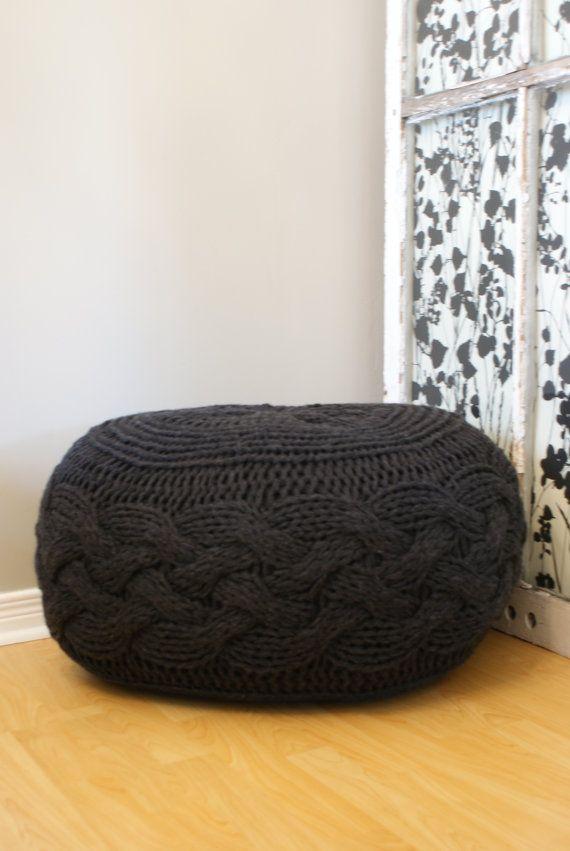 Diy Knitting Pattern Chunky Cable Knit Pouf 2012009