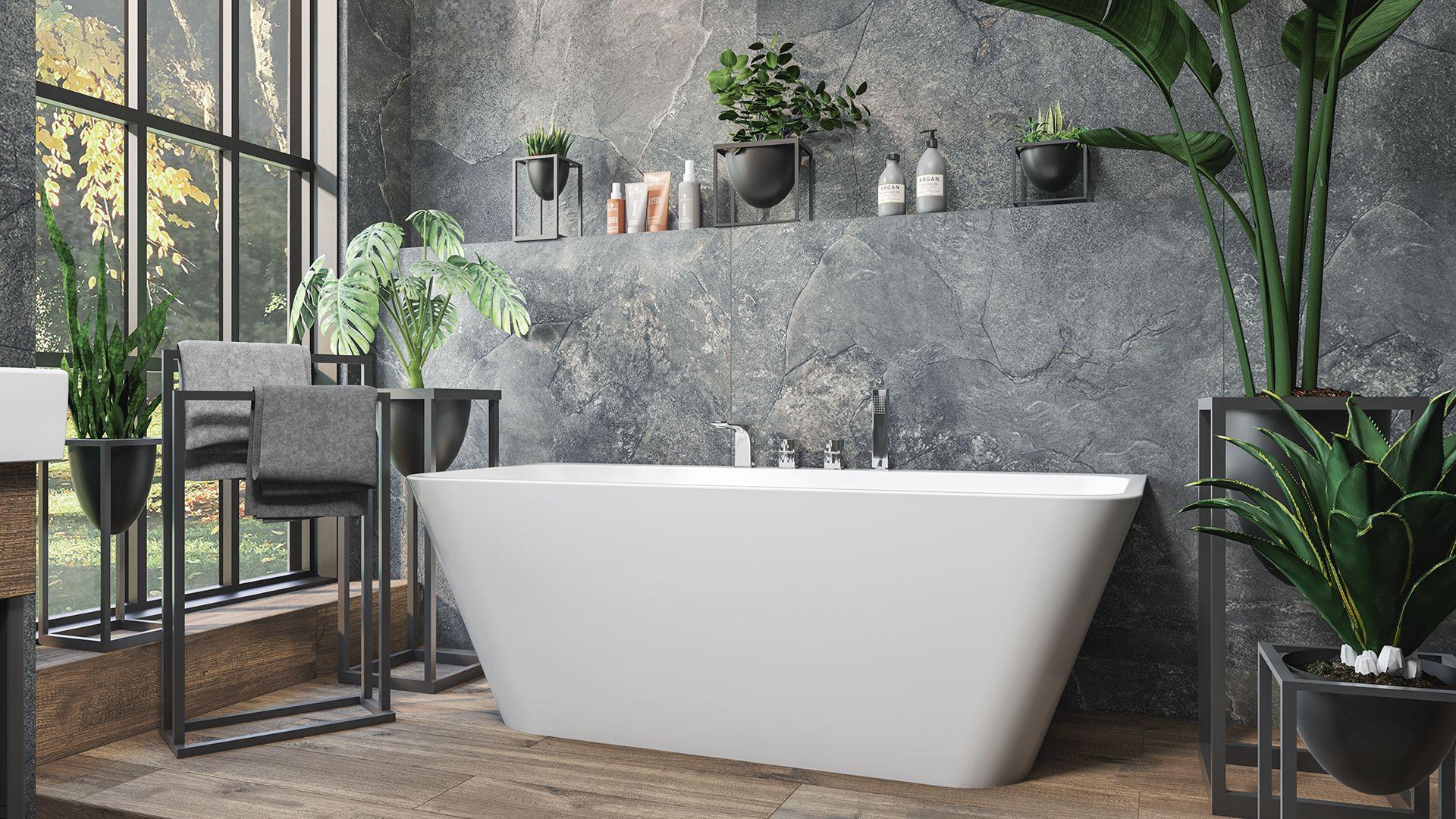 Urbanjungle Greenery Interiortrends Stone Bathroomdesign Bath Wanna Wolnostojaca W Lazience Pelnej Zieleni Bathtub Bathroom