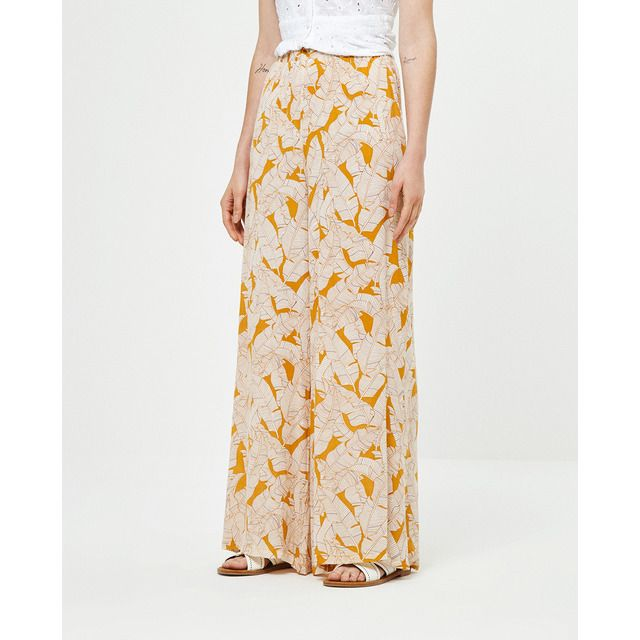 Photo of Surkana – Pantaloni con stampa a foglia larga da donna con elastico in vita