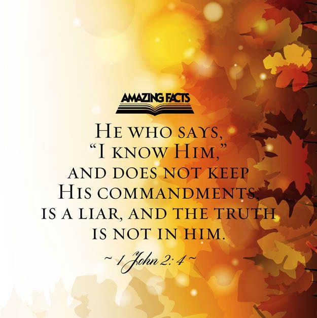 "1 John 2:4 - New International Version (NIV) 4 Whoever says, ""I ..."