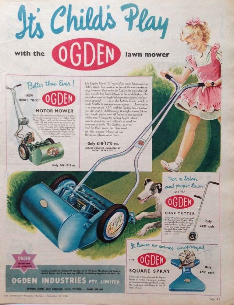 OGDEN M 53 MOTOR LAWN MOWER AD 1953 Original Vintage AUSTRALIAN Advertising