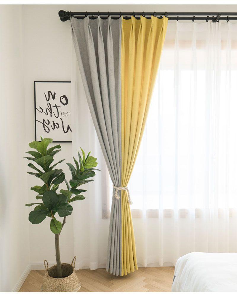 Rideau occultant polyester jaune gris moderne pour chambre à