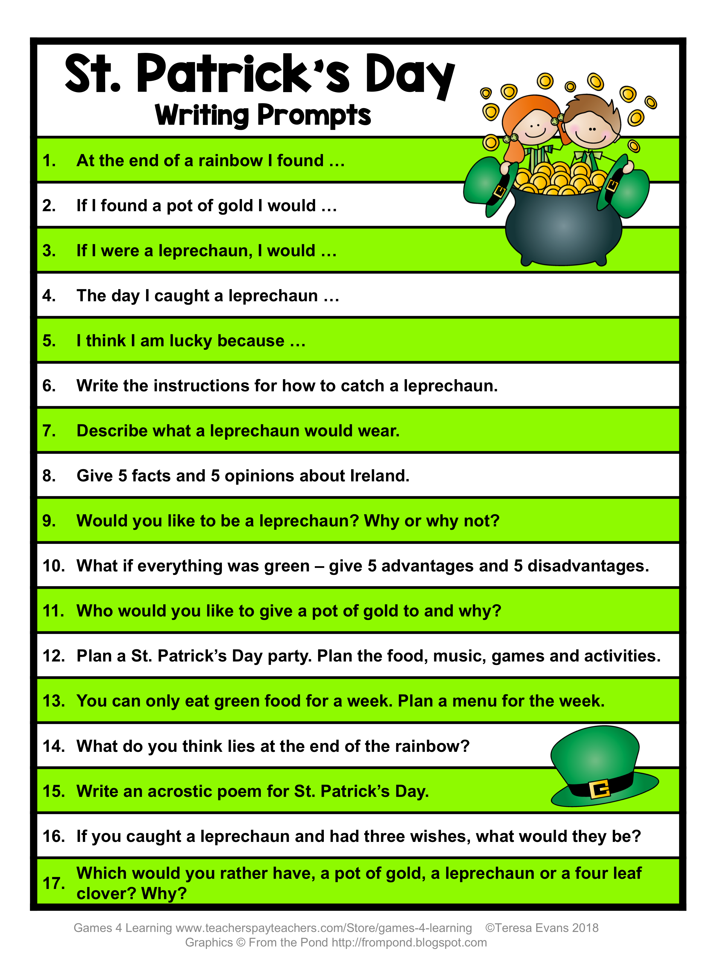 Free St Patrick S Day Writing Prompts