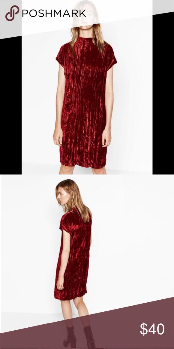 "cd2691e0 Zara Crushed Velvet Dress in Burgundy EUC S EXCELLENT CONDITION Bust:19""  Length (shoulder to hem):37"" Not lined. Not see through. Zara Dresses Midi"