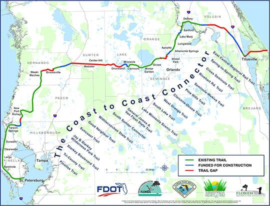 Florida Coastline Map.A Map Of The Coast To Coast Connector In Florida Trail Rider
