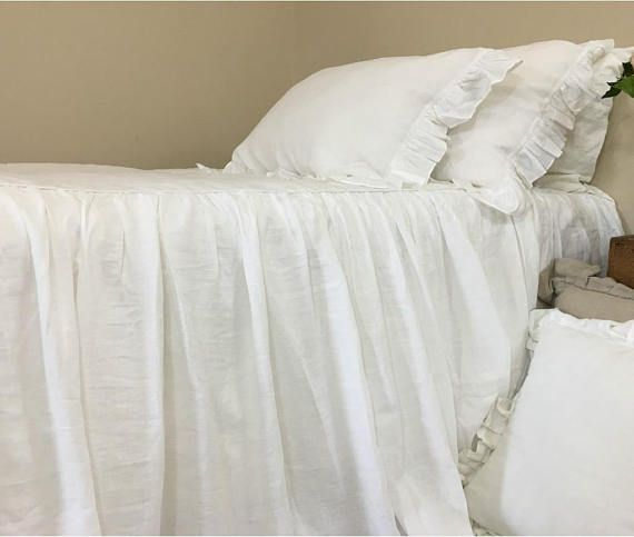White Bedspread Natural Linen Bedspread White Linen Bed Cover