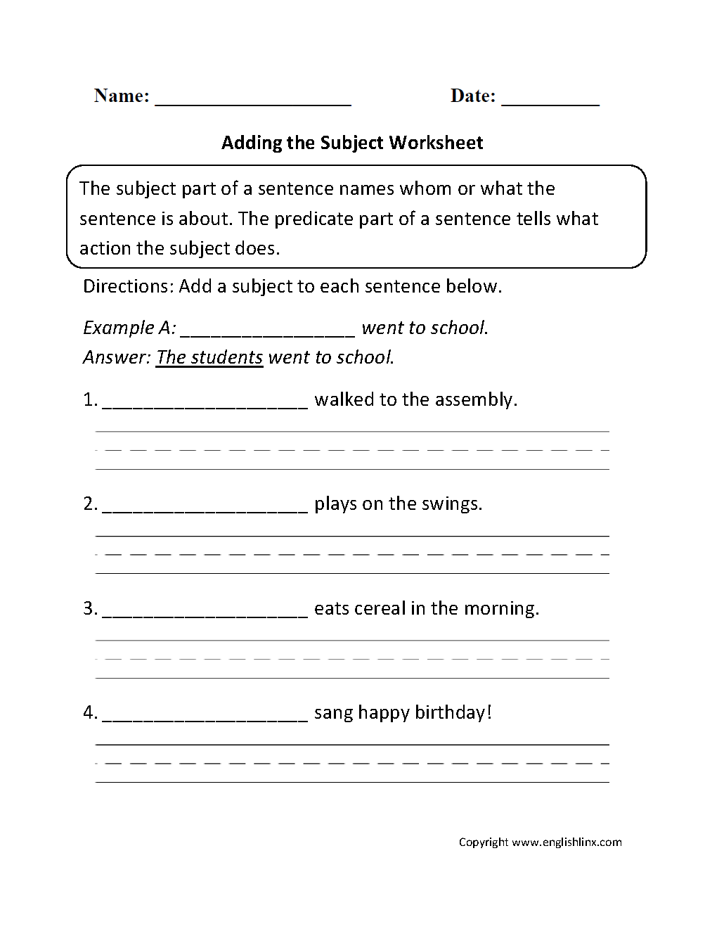 Subject And Predicate Worksheets Adding The Subject Worksheet In 2020 Subject And Predicate Worksheets Subject And Predicate Predicates [ 1331 x 1003 Pixel ]