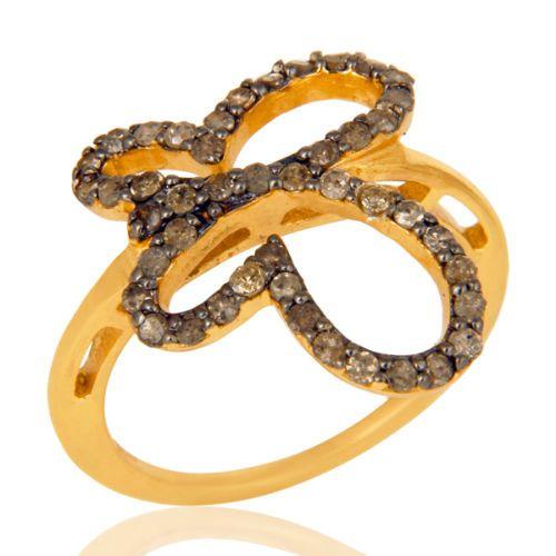 Genuine-Diamond-Bezel-Ring-18K-Gold-Plated-925-Sterling-Silver-Designer-Jewelry